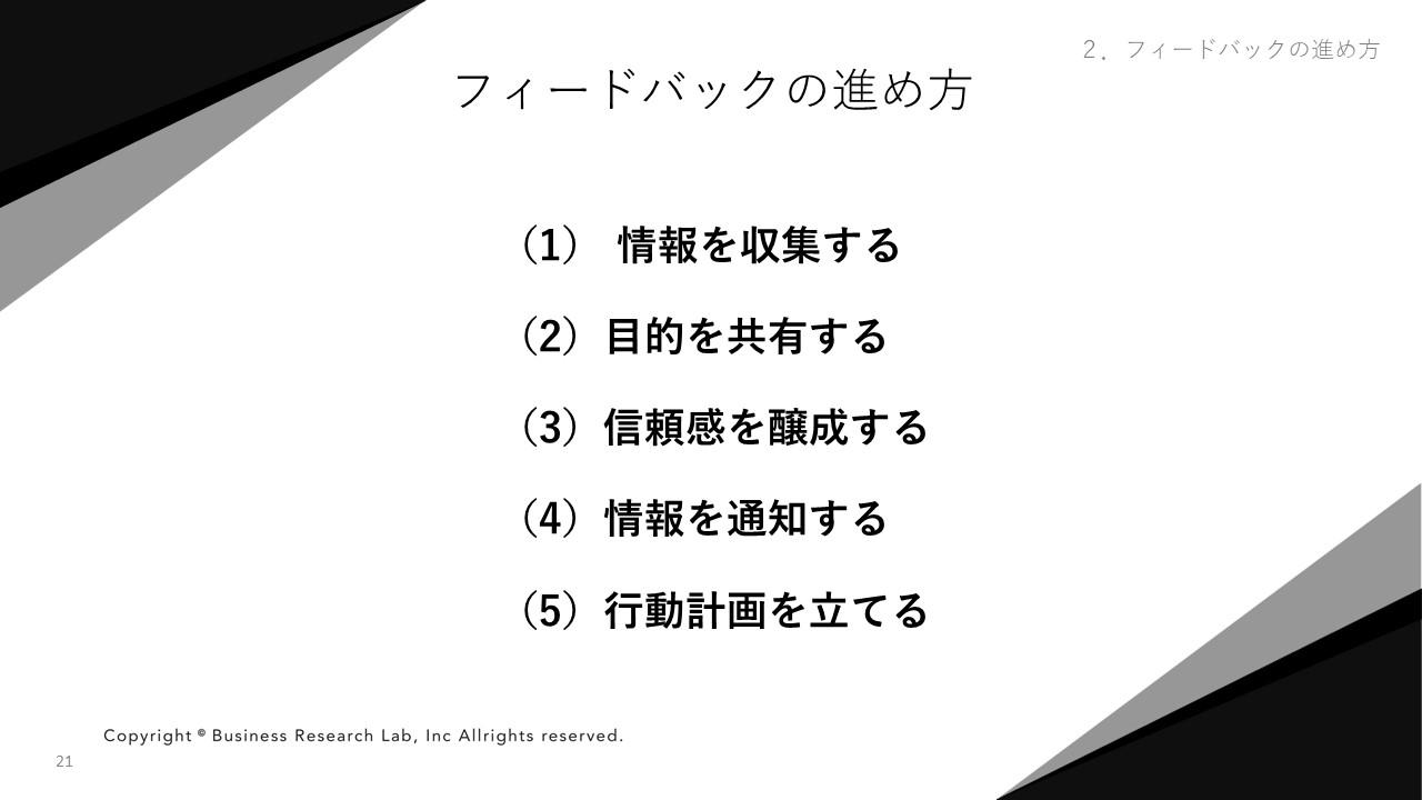 フィードバックの進め方 5つのステップ