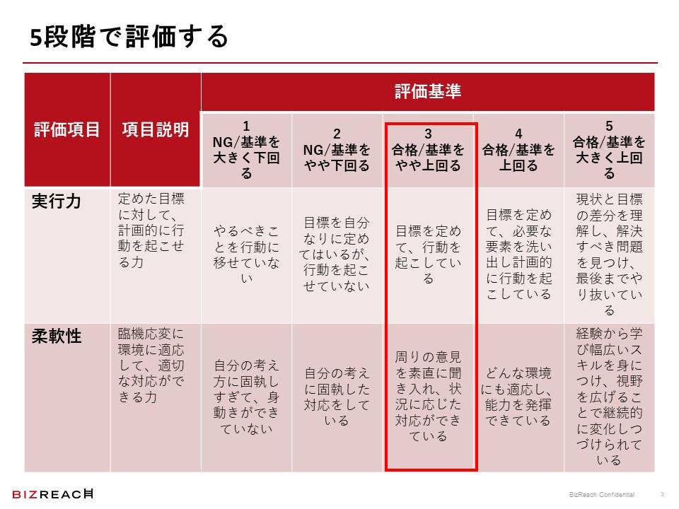 5段階評価の例